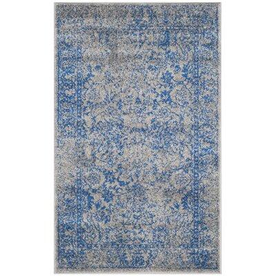 Sebring Gray/Blue Area Rug Rug Size: 4 x 6