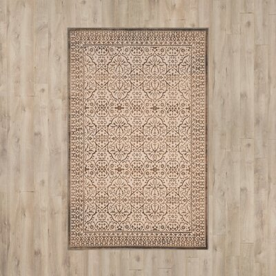 Roma Cream / Bronze Area Rug Rug Size: Rectangle 51 x 76