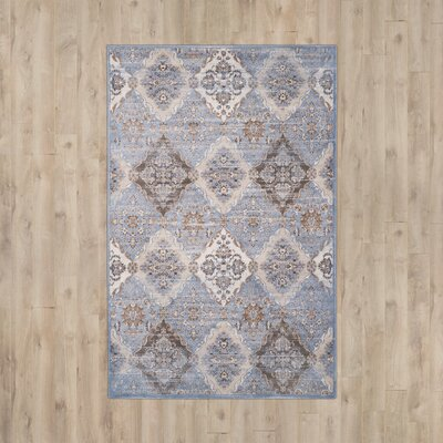 Barton Light Blue / Ivory Area Rug Rug Size: Rectangle 4 x 57
