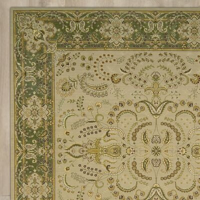 Foland Machine Woven Beige/Green Area Rug