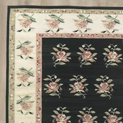 Claybrooks Hand-Knotted Black/Beige Area Rug