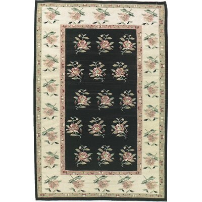 Cedarfields Hand-Knotted Wool Black/Beige Area Rug Rug Size: Rectangle 56 x 86