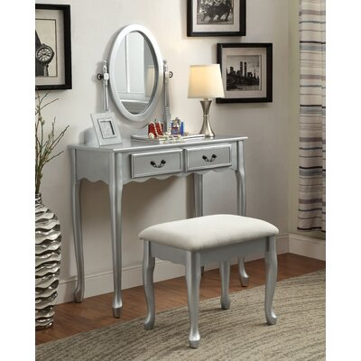 Bakewell Vanity Set with Mirror Color: Silver