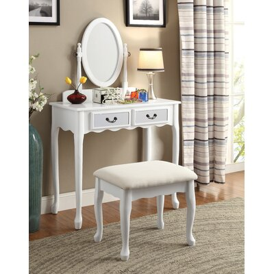 Bakewell Vanity Set with Mirror Color: White