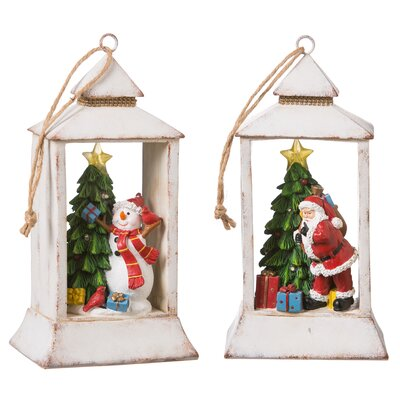 Christmas Scenery 2 Piece LED Cloche Set