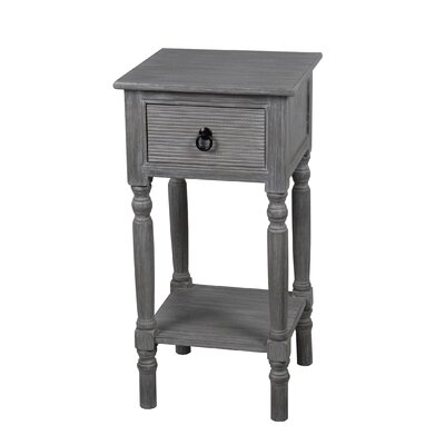 Carroll 1 Drawer End Table Finish: Slate Grey