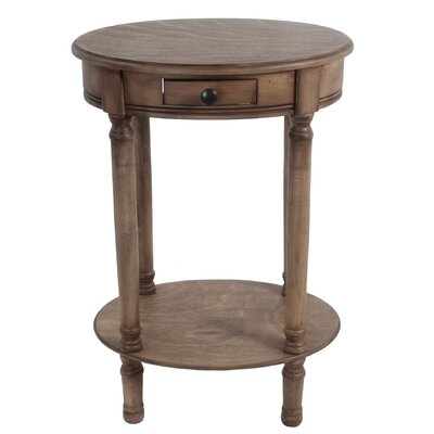 Alamo 1 Drawer Oval End Table Finish: Desert Brown