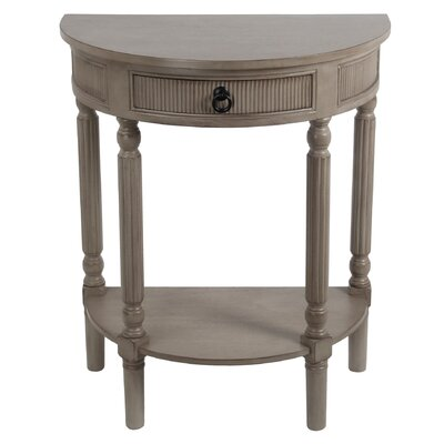 Daugherty 1 Drawer Half Round End Table Finish: French Gray