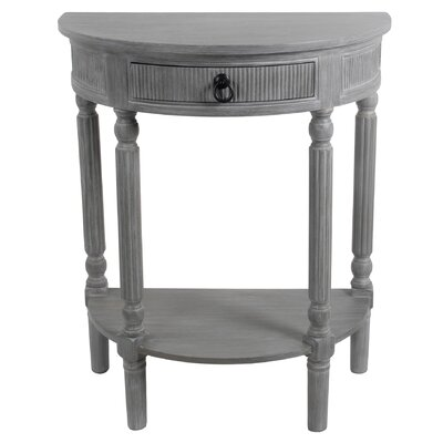 Daugherty 1 Drawer Half Round End Table Finish: Slate Gray