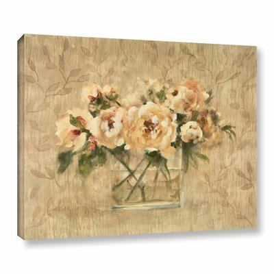 Peonies in Glass Painting Print on Wrapped Canvas