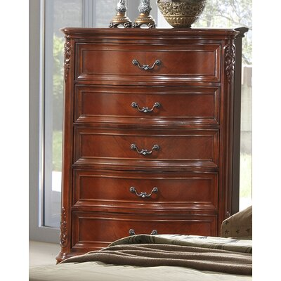 Longstaff 5 Drawer Chest Color: Cherry