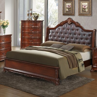 Longstaff Upholstered Panel Bed Size: Twin, Color: Cherry