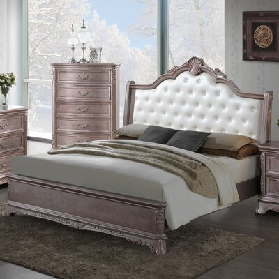 Longstaff Upholstered Panel Bed Finish: Gray Antiqued, Size: Twin