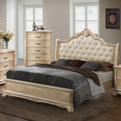Longstaff Upholstered Panel Bed Finish: Bisque, Size: Queen