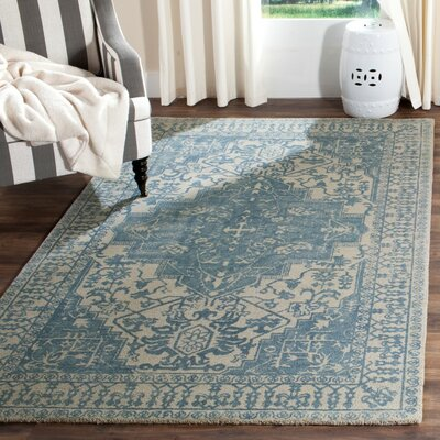 Mcfarland Hand-Tufted Ivory/Turquoise Area Rug Rug Size: Square 6 x 6