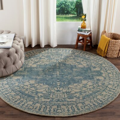 Mcfarland Hand-Tufted Ivory/Turquoise Area Rug Rug Size: Round 6 x 6