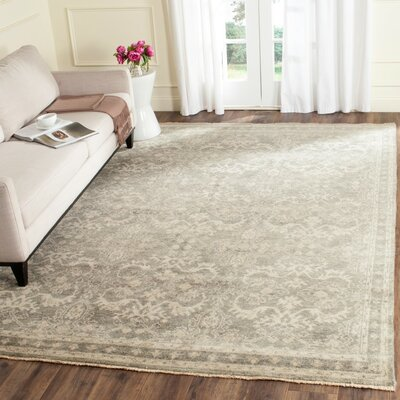 Solomon Hand-Knotted Gray/Ivory Area Rug Rug Size: Rectangle 6 x 9