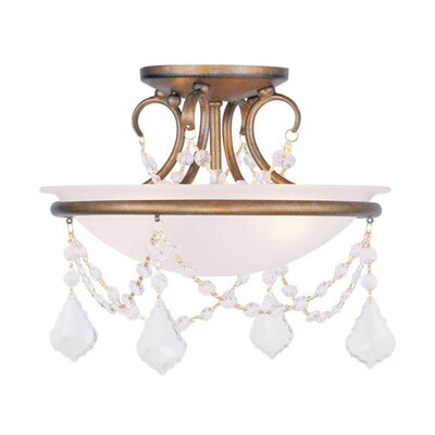 Izidora 2-Light Flush Mount Finish: Antique Gold Leaf, Size: 11 H x 20 W