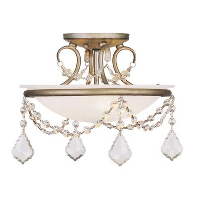 Izidora 2-Light Flush Mount Size: 9.5 H x 12 W, Finish: Antique Silver Leaf