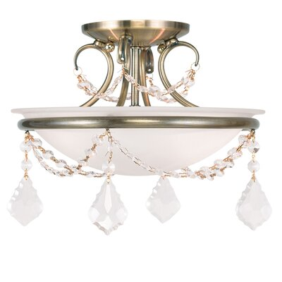 Izidora 2-Light Semi Flush Mount Size: 10 H x 16 W, Finish: Antique Brass