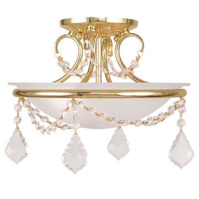 Izidora 2-Light Semi Flush Mount Size: 9.5 H x 12 W, Finish: Polished Brass