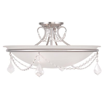 Izidora 2-Light Semi Flush Mount Size: 11 H x 20 W, Finish: Brushed Nickel