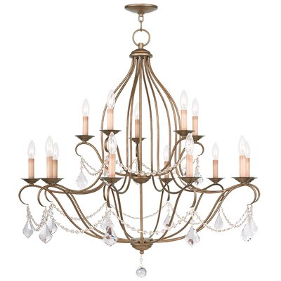 Bayfront 15-Light Crystal Chandelier Color: Antique Gold Leaf