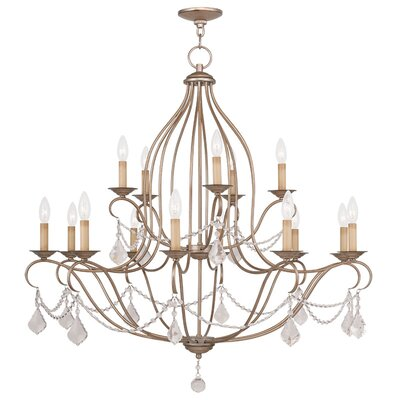 Bayfront 15-Light Crystal Chandelier Finish: Antique Silver Leaf