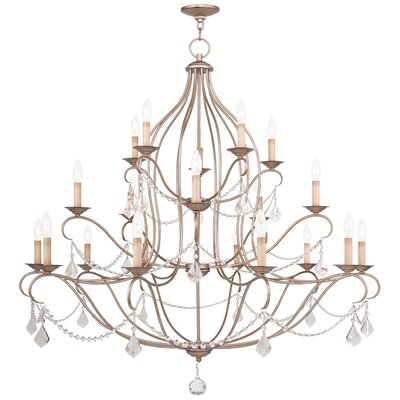Bayfront 18-Light Crystal Chandelier Color: Antique Silver Leaf