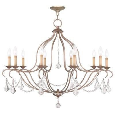 Bayfront 10-Light Candle-Style Chandelier Finish: Antique Silver Leaf