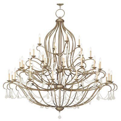 Bayfront 44-Light Crystal Chandelier Finish: Antique Silver Leaf