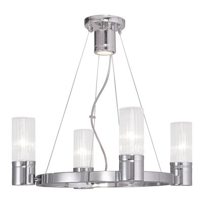 Barnett 4-Light Shaded Chandelier Finish: Chrome