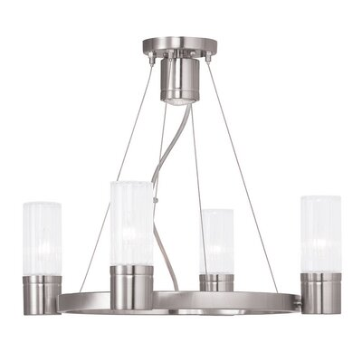 Barnett 4-Light Shaded Chandelier Finish: Brushed Nickel