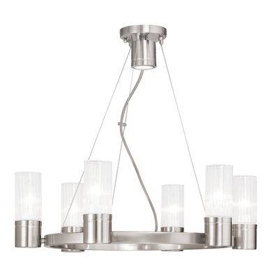 Barnett 6-Light Shaded Chandelier Finish: Brushed Nickel