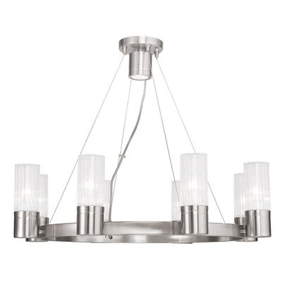 Barnett 8-Light Shaded Chandelier Finish: Brushed Nickel