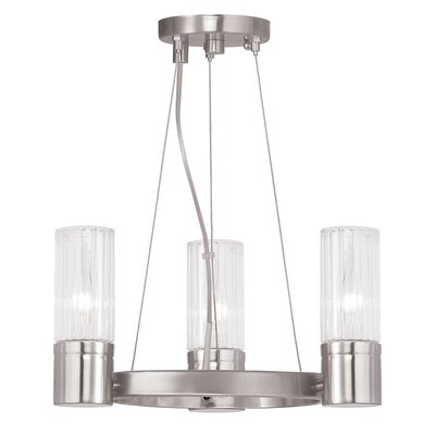 Barnett 3-Light Shaded Chandelier Finish: Brushed Nickel