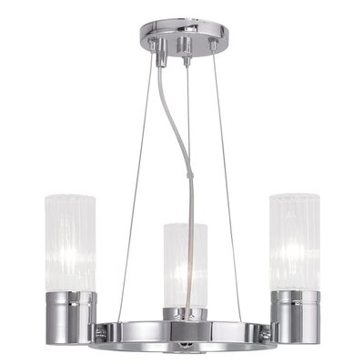 Barnett 3-Light Shaded Chandelier Finish: Chrome