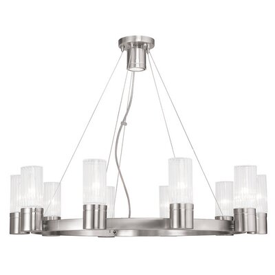 Barnett 10-Light Shaded Chandelier Finish: Brushed Nickel