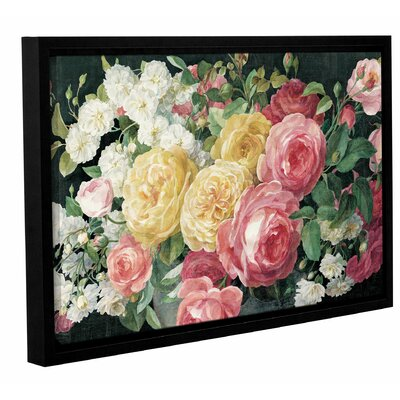 'Antique Roses on Crop' by Danhui Nai Framed Painting Print on Wrapped Canvas in Black