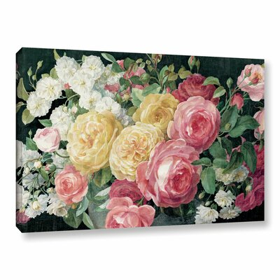 'Antique Roses on Crop' Painting Print on Wrapped Canvas in Black Size: 12
