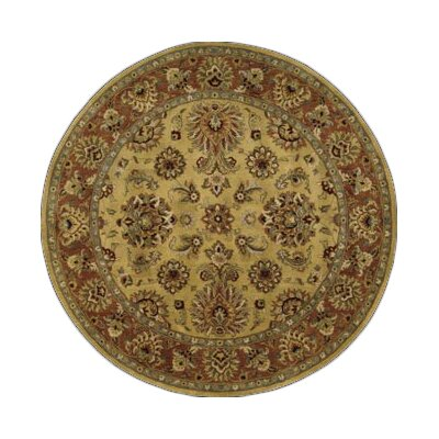Lupton Hand-Tufted Gold Area Rug Rug Size: Round 6