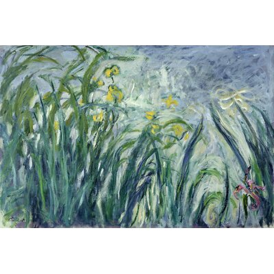 'Yellow and Purple Irises' by Claude Monet Painting Print on Wrapped Canvas