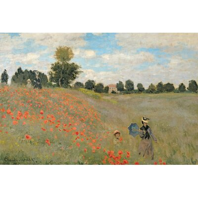 'Wild Poppies, Near Argenteuil' by Claude Monet Painting Print on Wrapped Canvas