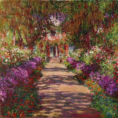 'A Pathway in Monet's Garden' by Claude Monet Painting Print on Wrapped Canvas