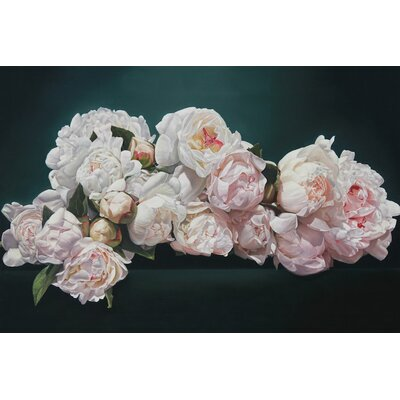 Peonies Cascade Graphic Art on Wrapped Canvas Size: 12