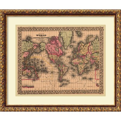 Map of the World, 1867 Framed Wall Art