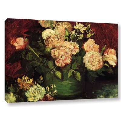 Roses And Peonies Painting Print on Wrapped Canvas