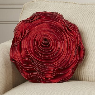 Floral Throw Pillow Color: Burgundy