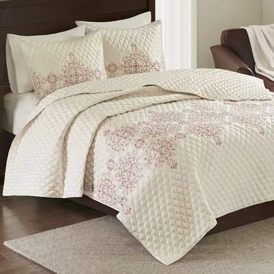 Hayes 3 Piece Coverlet Set Size: Full / Queen, Color: Coral