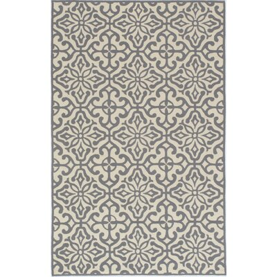 Peyton Hand-Hooked Gray/Beige Outdoor Area Rug Rug Size: Rectangle 39 x 59